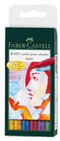 6CT PITT ARTIST PEN BRUSH BASIC COLORS WALLET